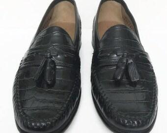 Original Black  FLORSHEIM Shoes Florsheim Mens Black Leather Tassel Wing Tip Loafers Size 8.5 D Father's Day Gift