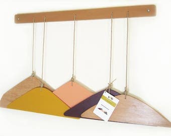 wall coatrack / wood / handmade / mountain