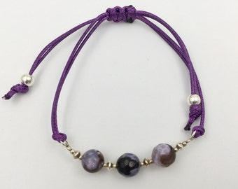 Bracelet in silver and agate fire violet