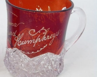 Ruby Red Flash Glass Antique Small Glass 1905 Souvenir Mug with Christianna Baird Humphreys and Atlantic City 1905 on the side; New Vintage