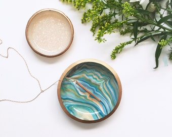 BESTSELLER! TURQUOISE MARBLE // Polymer Clay Jewelry Dish, Ring Dish, Trinket Dish, Ring Holder