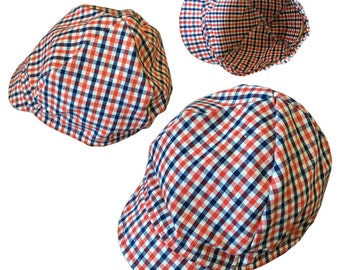 Vintage Mod Baby Red + White + Blue Gingham Plaid Peaked Cap — 6 to 9 Months