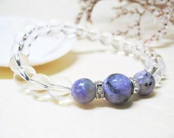 Charoite Bracelet Clear Quartz Crystal Bracelet Calming Bracelet Healing Bracelet Spiritual Bracelet Crown Chakra Bracelet Gemstone Bracelet