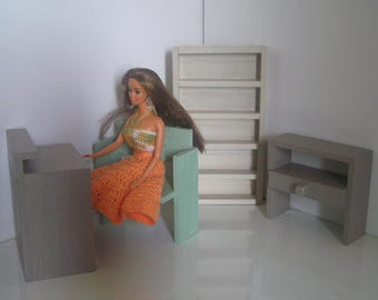 TO order - Office/Library furniture wooden painted and varnished for Barbie doll