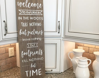 Welcome to Our Cabin in the Woods I Rustic Sign I Handmade Home Decor I Rustic Wall Decor I Cabin Decor