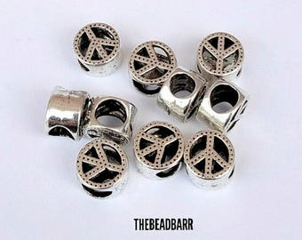 Peace Sign, Silver Charms, European Spacer beads, 5pcs, Fits Pandora style bracelets, Snake chains, Large Hole Charm Beads, Jewelry Making