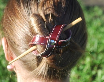 Barrette hair hand made leather