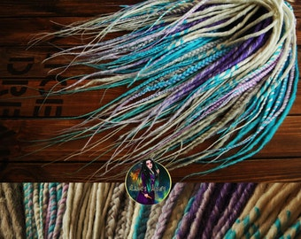Synthetic double ended dreads mix thin dreads blue purple candy