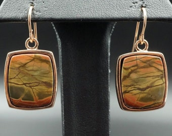 Artisan Handcrafted 14K Rose Gold Red Creek Jasper Dangle Earrings EG393