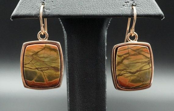Artisan Handcrafted 14K Rose Gold Red Creek Jasper Dangle Earrings EG393