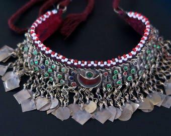 VINTAGE KUCHI NECKLACE - Old Tribal Jewelry Crescents Choker