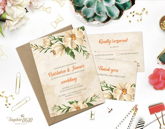Papyrus Wedding Invitations: Printable Floral Vintage Ivory Wedding Invitation Digital