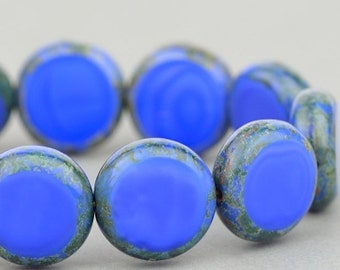 Czech Glass Beads - Table Cut Coin Beads - Lentil Coin Beads - Blue Silk with Picasso - 11mm - 5 or 15 beads
