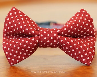 Lovely Dots Cat Bow Tie Collar – Wine Red