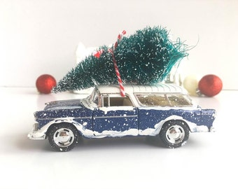 Navy Blue Chevy Nomad - Retro Christmas Decorations - 1950s Christmas Decorations - Classic Car - Gift Idea for Him - Black Friday Sale