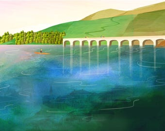 A4/A3 Illustrated Prints, Derwent Valley, Peak District, Derbyshire. Sheffield, Ladybower, Reservoir, Canoeing, Walking,Yorkshire, water