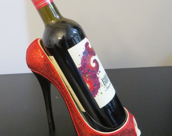 Ceramic Sparkles Ruby Red High Heel Wine Bottle Holder With Felt Looks Like Shoe From Wizard Of Oz