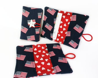 Card Wallet - Card Holder - American Flags - Fabric Card Holder - Card Holder Wallet - Business Card Holder - Credit Card Holder - Patriotic
