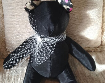 Black Silk Moire, Leopard print ears and paws, Homemade Bear, Decorator Bear