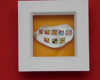 painted shell fragment - nautical flags - 'I love you'.