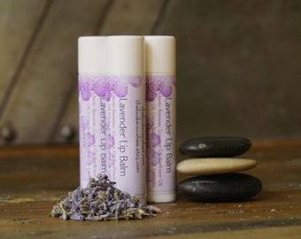 Lavender Lip Balm | Shea Butter Lip Balm, Beeswax Lip Balm, All Natural Lip Balm, Lip Gloss