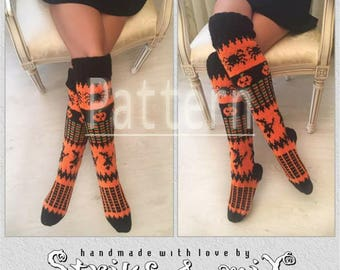 Halloween socks Pattern, Pumpkin, Spider, Witch socks Orange Black Green Halloween costume Halloween leg warmers, Halloween costume women