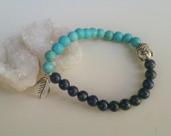 Turquoise and lapis lazuli bracelet with budha beads. Buddha bracelet with turquoise and lapis lazuli. Bracelet for creativity. gemoterapy