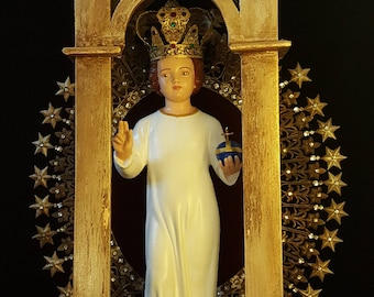 Beautiful Fully Restored Holy Infant of Prague Statue/ Vintage Santos Infant Jesus with Crown