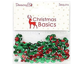 Dovecraft Christmas Basics Sequins, Sequins, Red/Green