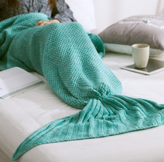 Knitting Pattern For Child s Mermaid Blanket : Knitted Mermaid Tail Blanket Adult Child by sgalagalasrigala