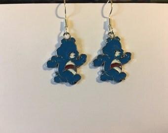Blue Care Bear Earrings   J40