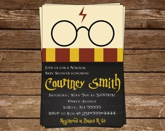 Harry Potter Baby Shower Invitation-Harry Potter-Chalkboard Invite- Gryffindor- Harry Potter Glasses - Personalized - 4x6 5x7