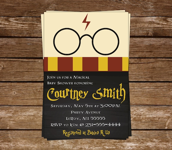 Harry Potter Baby Shower: Harry Potter Baby Shower Invitation-Harry Potter-Chalkboard