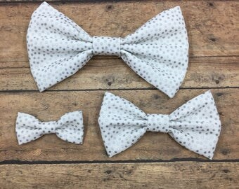 Silver and White Polka Dot Fabric Bow (3 sizes) on Metal Clip, Elastic Headband, or Hair Tie; White Fabric Hair Bow, Silver Polka Dot Bow