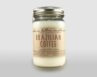 Coffee Candle, Brazilian Coffee 16oz Scented Candle | Strong Scented, Mason Jar Candle, Coffee scent, Thanksgiving, Coffee candles,Coffee