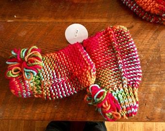 Hand knit slipper socks sz 6-8