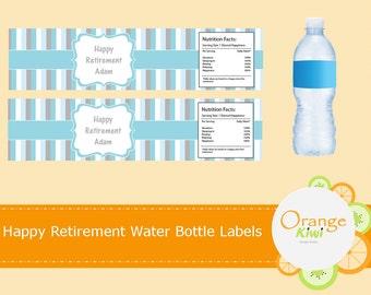 Custom Retirement Water Bottle Labels, Personalized Water Bottle Wraps, Waterproof Labels, Retirement Party Favor Water Bottle Labels