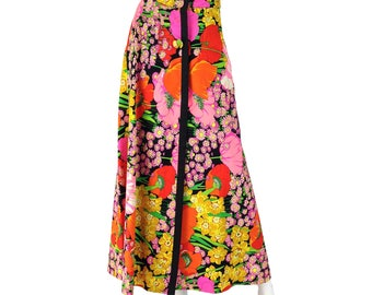 Vintage Clothing, Boho Maxi Skirt L XL, Psychedelic Skirt, 60s Maxi Skirt, Floral Print Maxi, Button Down Skirt, Hippie Skirt, SIZE L XL