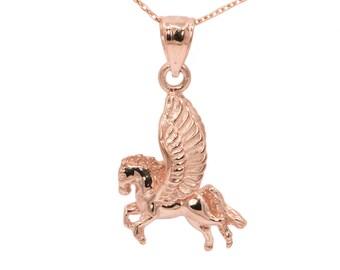 10k Rose Gold Pegasus Necklace