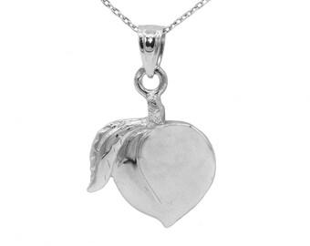 14k White Gold Peach Necklace