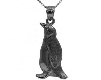14k Black Gold Penguin Necklace