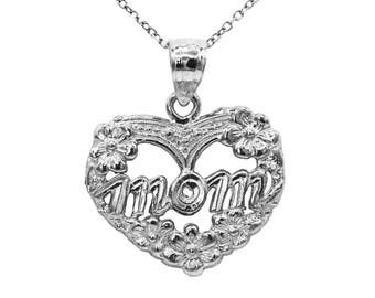 925 Sterling Silver Heart Mom Necklace