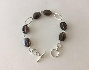 Smokey Quartz and silver oval connectors bracelet