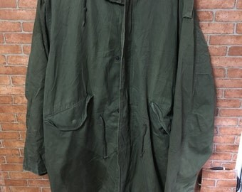 Vintage Army Parka Cold Jacket Green Utility Scovil Button M