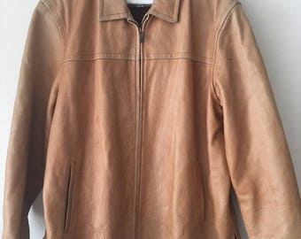 Classic Steep Mid Length Vintage Light Brown Genuine Leather Jacket Men's Size Extra Large.