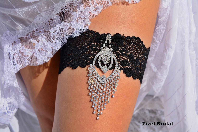 Black Wedding Garter Garter Set Lace Garters Bridal