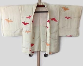 Vintage Pale Yellow Silk Kimono Jacket Haori, Japanese Stylized Butterfly Motif, Haori Jacket, Kimono Cardigan, Silk Kimono Robe  JA0033VH