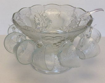 Glass Fruit Punch Bowl with Stand and 12 Cups, Romance Complete Set
