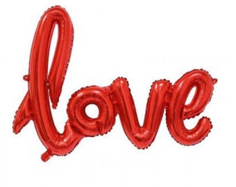Red script love balloon