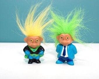 Collectible Soma troll dolls pair , bright green hair troll , yellow hair troll , vintage troll , mini troll